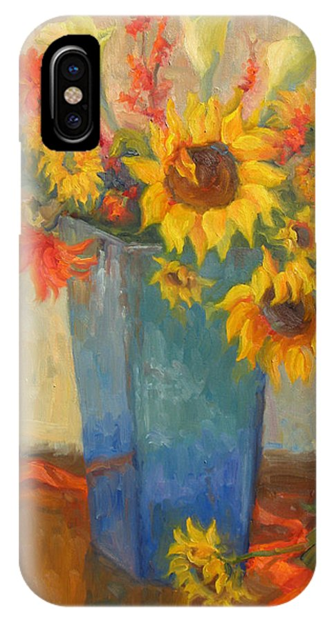 Sunflowers IPhone X / XS Case featuring the painting Bouquet Of Sunshine by Bunny Oliver