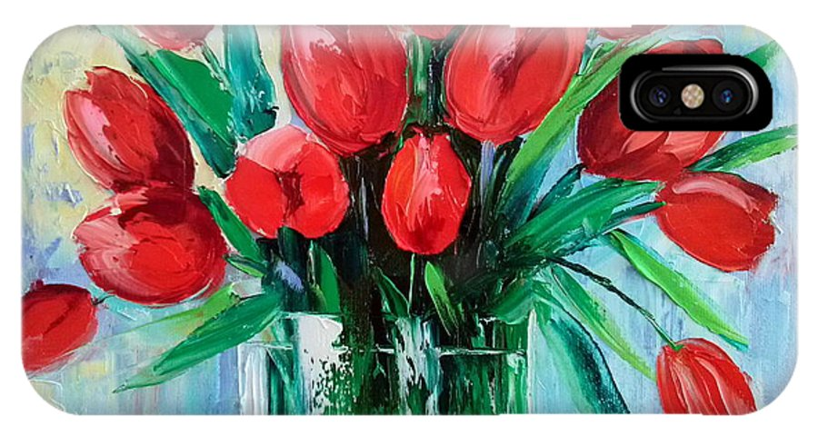 Bouquet Of Tulips IPhone X Case featuring the painting Bouquet Of Tulips by Olha Darchuk