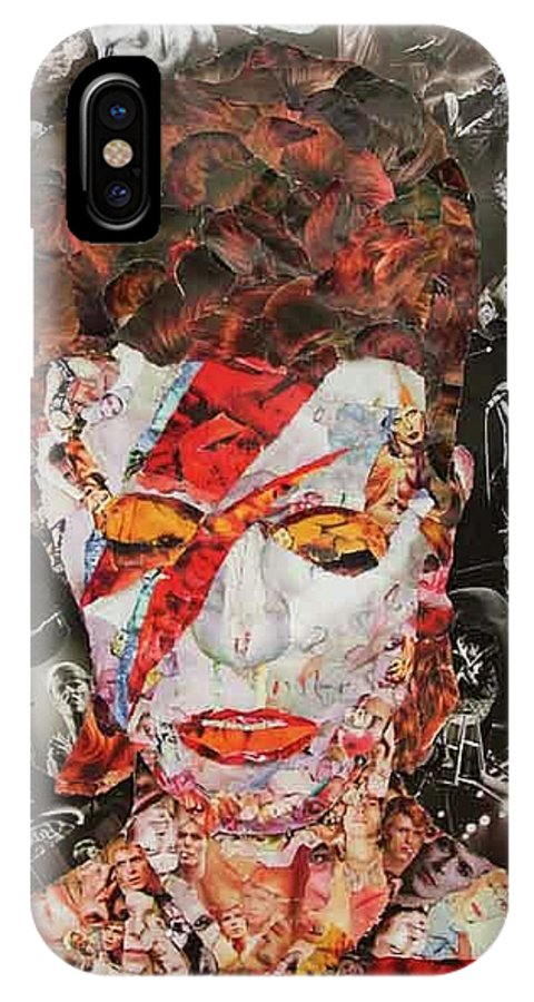 David Bowie IPhone X Case featuring the mixed media Bowie Collage by John Kerr