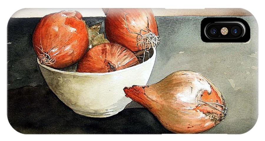 Still Life IPhone X Case featuring the painting Bowl Of Onions by Paul Dene Marlor
