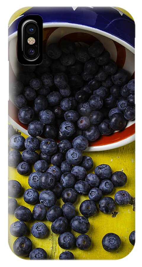 Blueberries Red Bowl IPhone X Case featuring the photograph Bowl Pouring Out Blueberries by Garry Gay