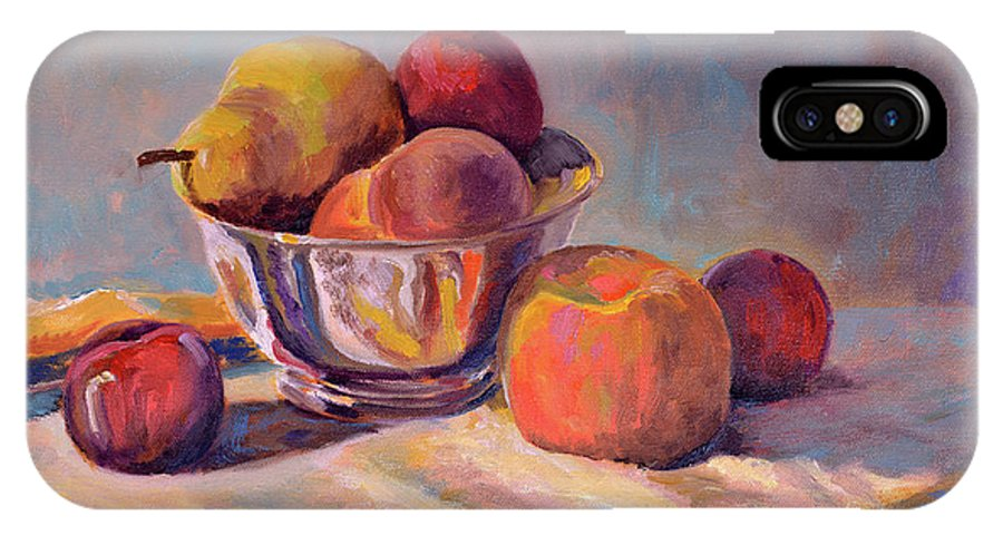 Still IPhone X Case featuring the painting Bowl With Fruit by Keith Burgess