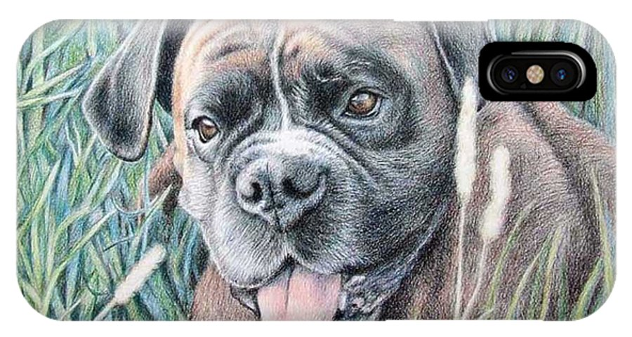Dog IPhone Case featuring the drawing Boxer Yosi by Nicole Zeug