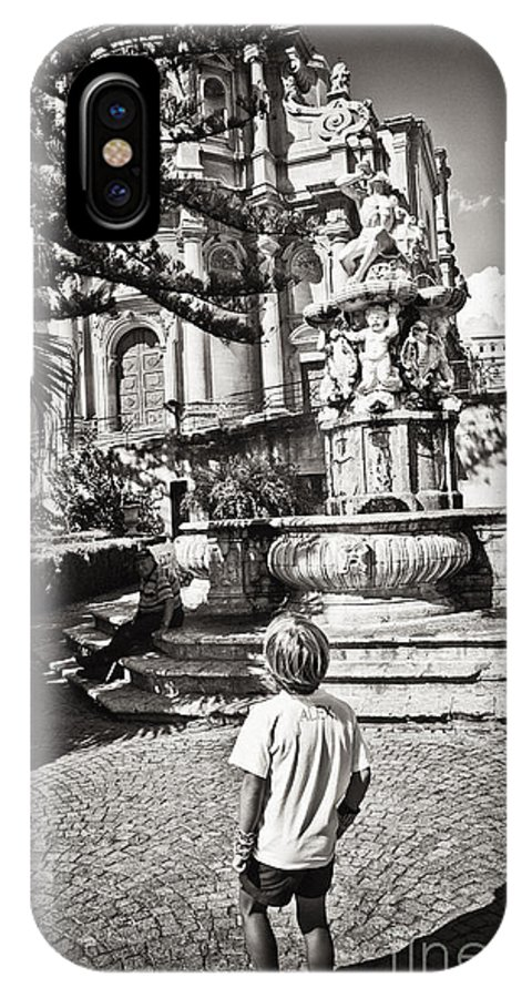 Boy IPhone X Case featuring the photograph Boy At Statue In Sicily by Madeline Ellis