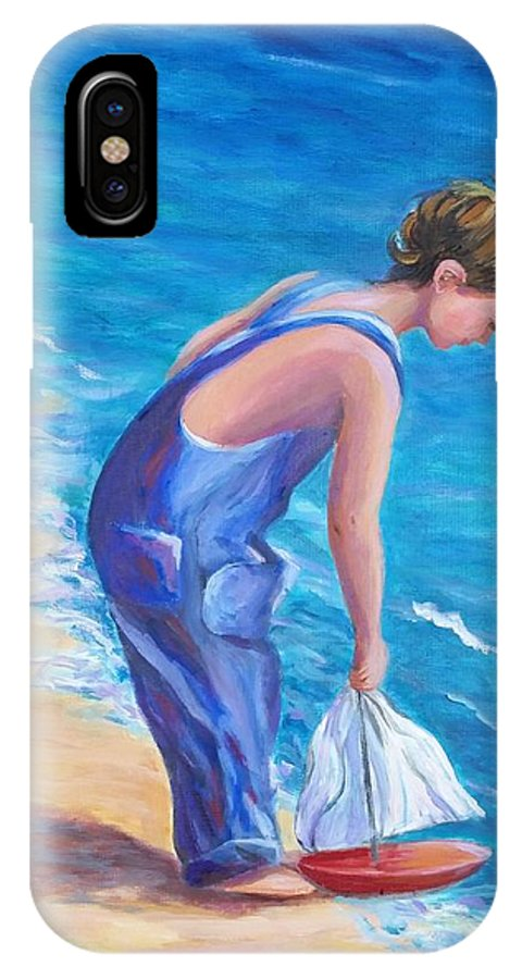 Boy IPhone X Case featuring the painting Boy At The Beach by Rosie Sherman