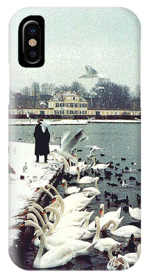 Swans IPhone X Case featuring the photograph Boy Feeding Swans- Germany by Nancy Mueller
