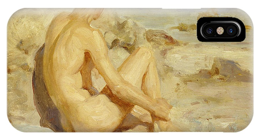 Male; Nude; Seated; Back; View; Sand; Model; Seashore; Boy On A Beach IPhone X / XS Case featuring the painting Boy On A Beach by Henry Scott Tuke