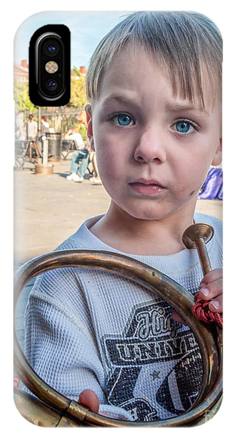 Boy IPhone X Case featuring the photograph Boy With A Horn _ Nola by Kathleen K Parker