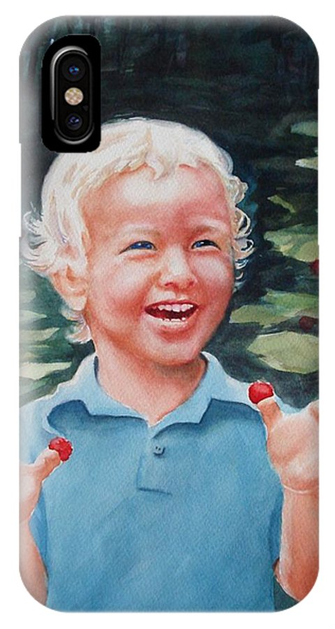 Boy IPhone X Case featuring the painting Boy With Raspberries by Marilyn Jacobson