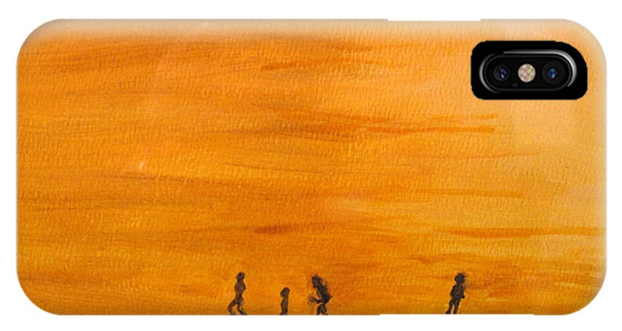 Boys IPhone Case featuring the painting Boys At Sunset by Ian MacDonald