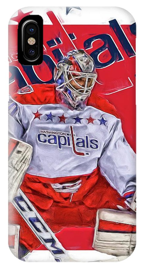 Braden Holtby IPhone X Case featuring the mixed media Braden Holtby Washington Capitals Oil Art by Joe Hamilton