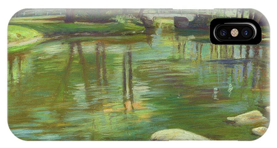 Mcgrath IPhone X Case featuring the painting Bradford Ma College Pond by Leslie Alfred McGrath