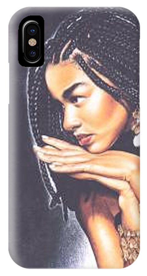 Woman W/folded Hands IPhone X Case featuring the drawing Braided Beauty by Charlene Cooper
