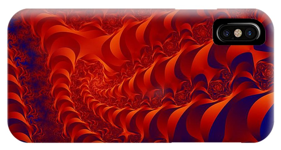 Fractal Art IPhone X Case featuring the digital art Braided Red by Ron Bissett