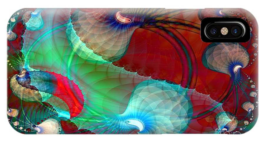 Dgital IPhone X Case featuring the digital art Brains In Motion 5 by Ron Bissett
