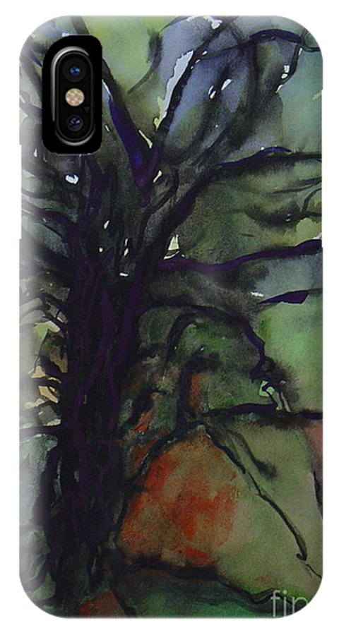Tree Landscape Abstract Watercolor Original Blue Green IPhone Case featuring the painting Branching by Leila Atkinson