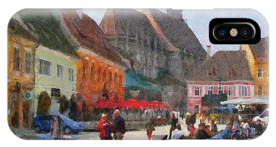 Shop IPhone X Case featuring the painting Brasov Council Square by Jeffrey Kolker