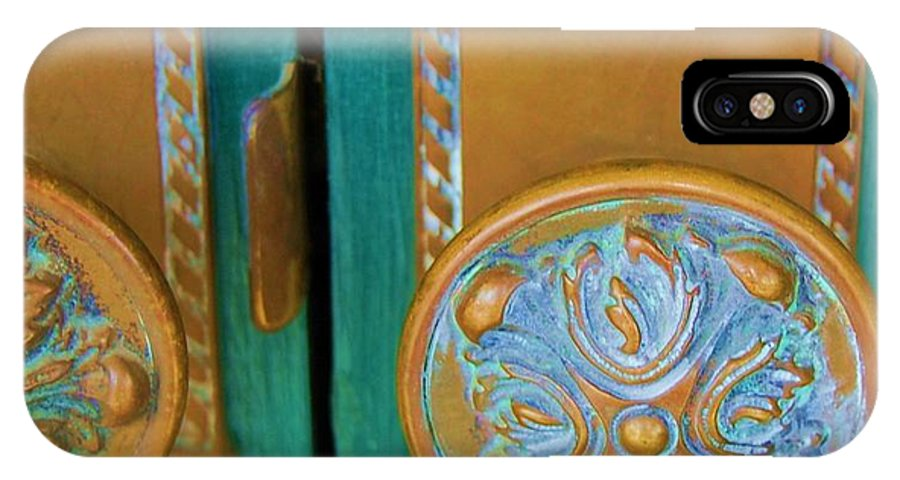 Door IPhone X Case featuring the photograph Brass Is Green by Debbi Granruth