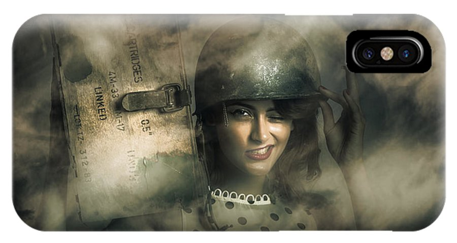 Brave IPhone X / XS Case featuring the photograph Brave Army Pinup by Jorgo Photography - Wall Art Gallery