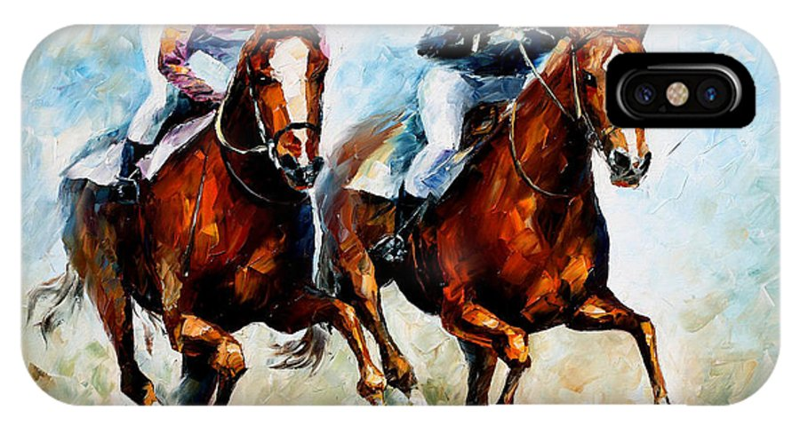 Horses IPhone X Case featuring the painting Brave Girls by Leonid Afremov