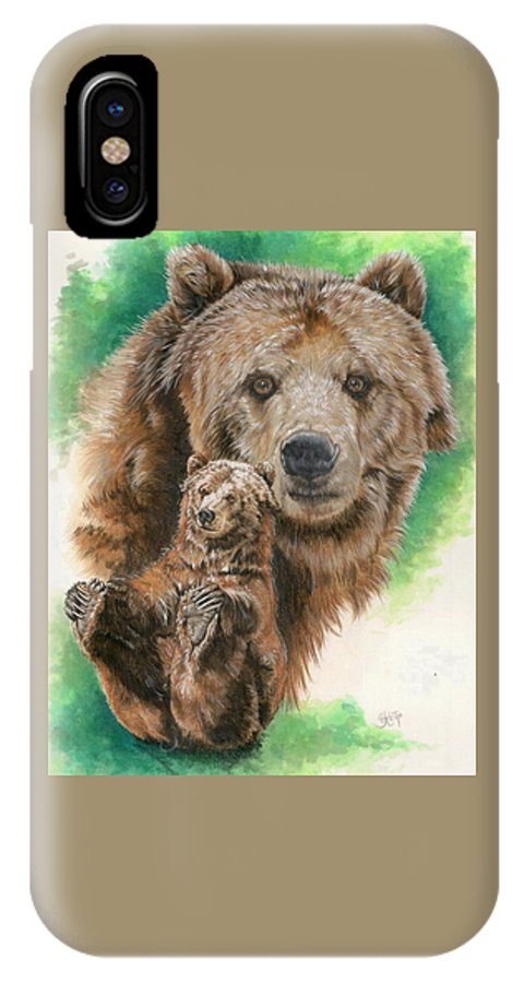 Bear IPhone X Case featuring the mixed media Brawny by Barbara Keith