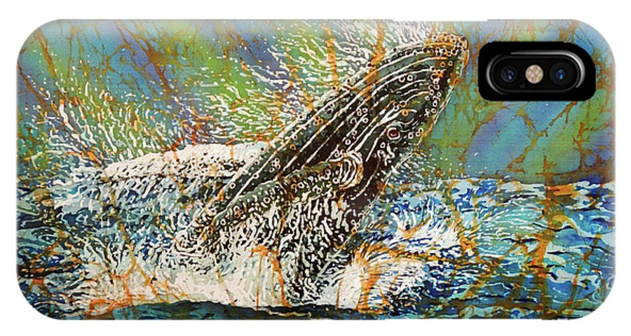 Whales IPhone X Case featuring the painting Breach in the Bay by Sue Duda