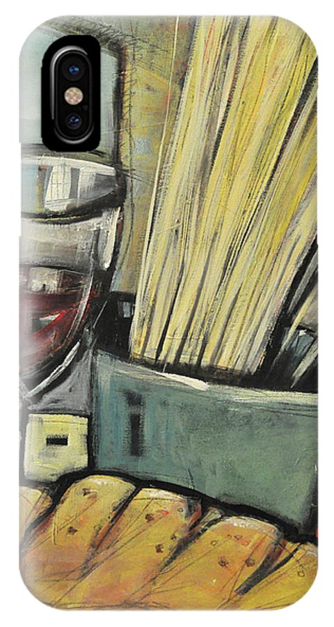Wine IPhone X Case featuring the painting Bread Pasta Wine by Tim Nyberg