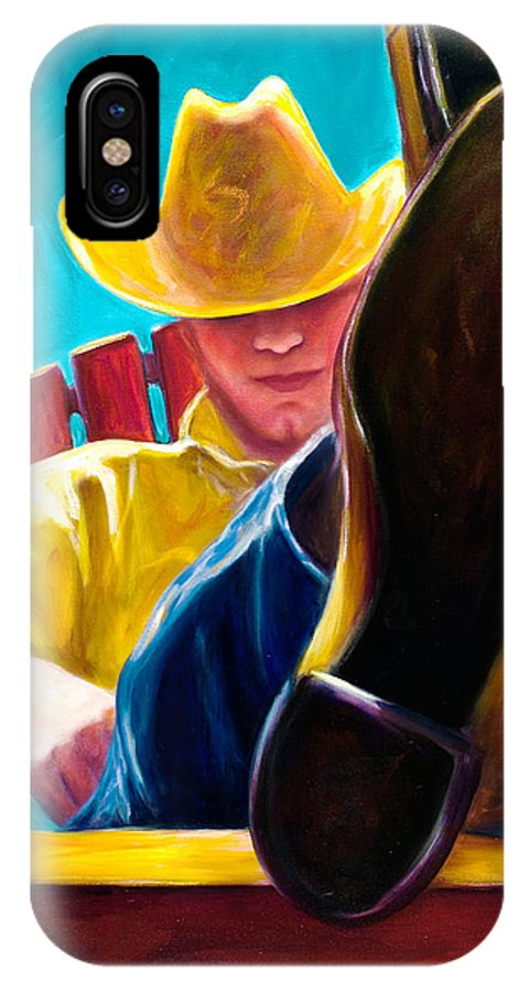 Western IPhone X Case featuring the painting Break Time by Shannon Grissom