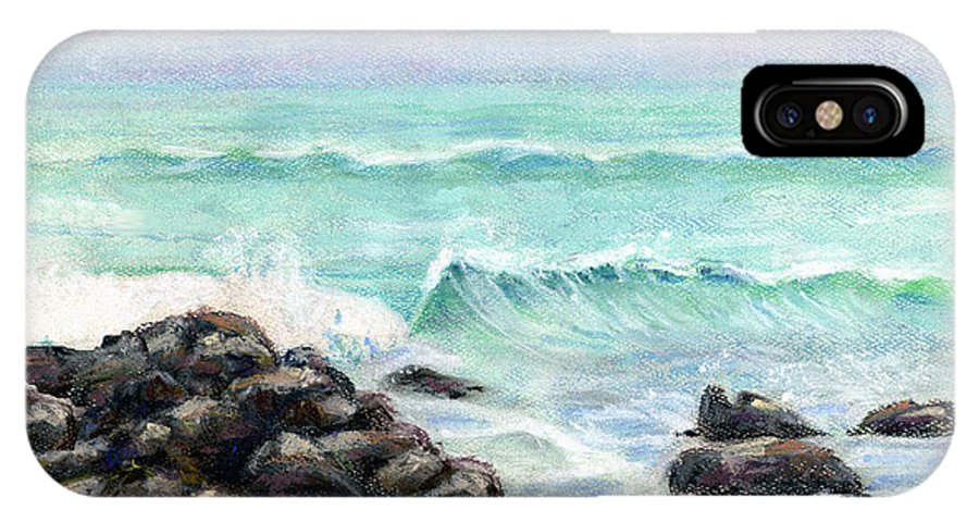 Breakers IPhone Case featuring the pastel Breakers by Arline Wagner