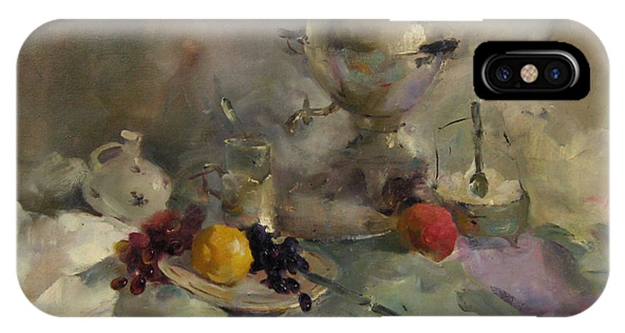 Kartini IPhone X / XS Case featuring the painting Breakfast Aristocrat by Ishenko V'yacheslav