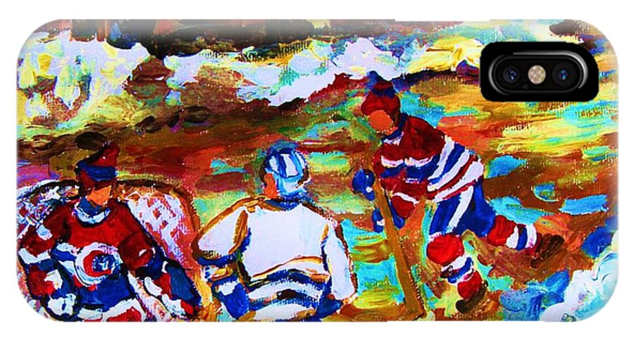 Streethockey IPhone X Case featuring the painting Breaking The Ice by Carole Spandau