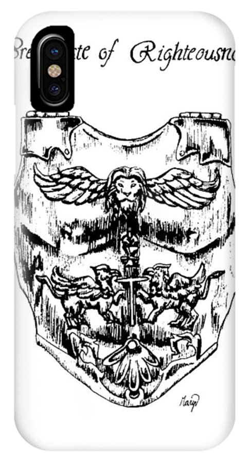 Breastplate IPhone X Case featuring the drawing Breastplate Of Righteousness by Maryn Crawford