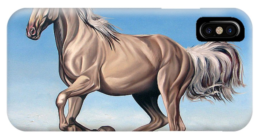 Horse IPhone X Case featuring the painting Breeze by Ilse Kleyn