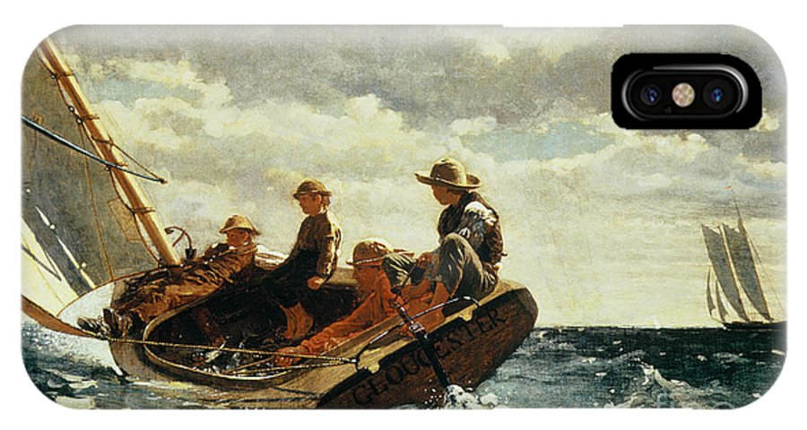 Breezing Up (a Fair Wind) 1873-76 (oil On Canvas) By Winslow Homer (1836-1910)boat IPhone X Case featuring the painting Breezing Up by Winslow Homer
