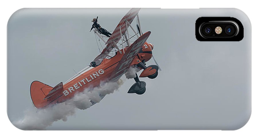 Biplane IPhone X Case featuring the photograph Breitling Biplane by Philip Pound