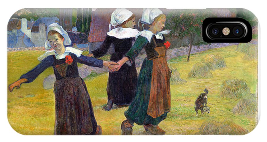 Paul IPhone X Case featuring the painting Breton Girls Dancing Pont-aven by Gauguin