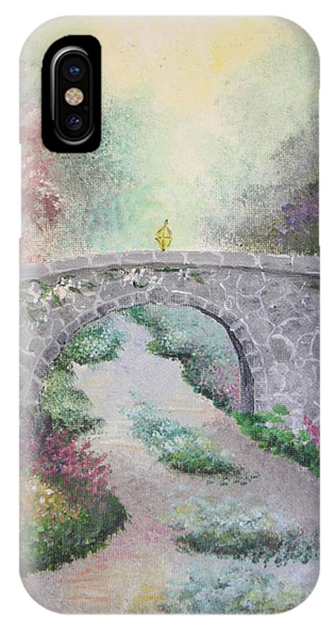 Bridge IPhone X Case featuring the painting Bridge by Melissa Wiater Chaney