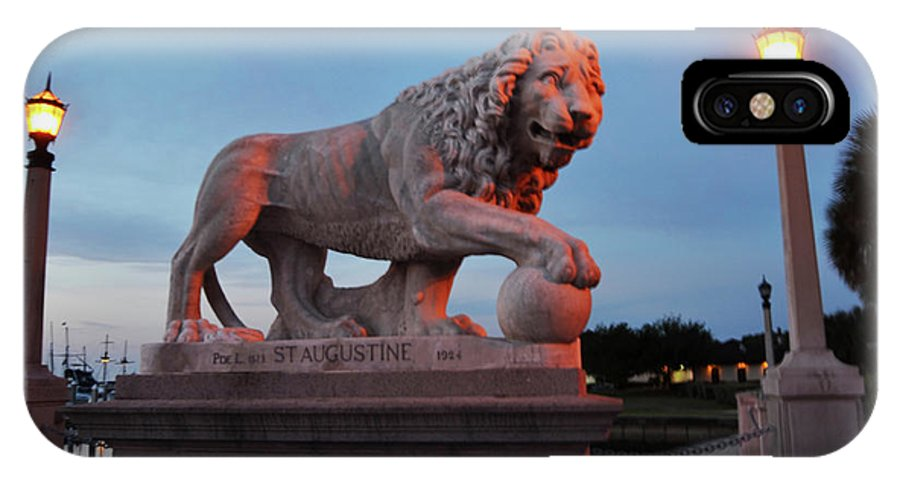 St. Augustine IPhone X / XS Case featuring the photograph Bridge Of Lions 2 by Shelley Wood