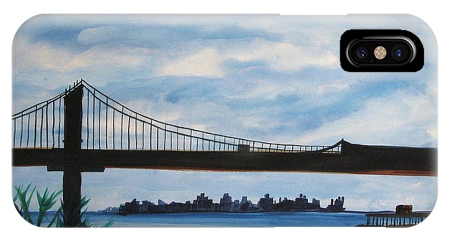 Beach Scene IPhone X Case featuring the painting Bridge To Europe by Patricia Arroyo