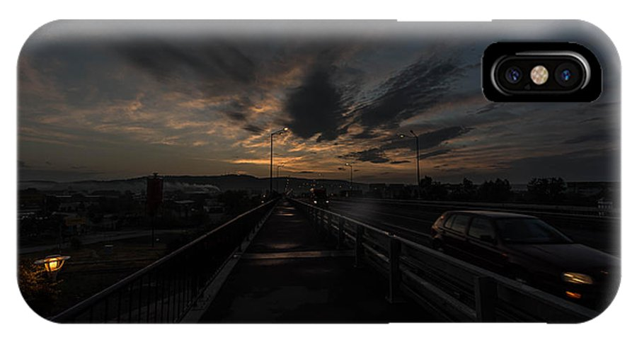 Abstract IPhone X Case featuring the photograph Bridge To The City In The Morning by Adrian Bud