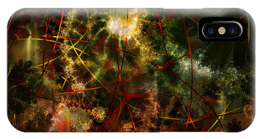 Abstract IPhone X Case featuring the digital art Bridges To Inner Sanctums by Stephen Lucas
