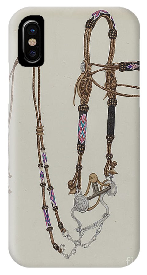 IPhone X Case featuring the drawing Bridle by Gordena Jackson