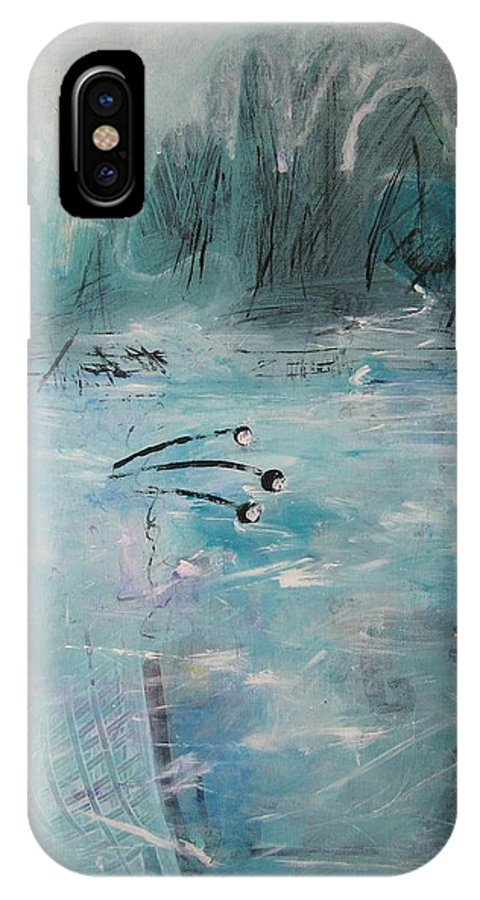 Abstract Paintings IPhone Case featuring the painting Brierly Beach by Seon-Jeong Kim