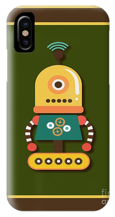 Retro IPhone X Case featuring the digital art Bright And Colorful Robot Toy by Alondra Hanley