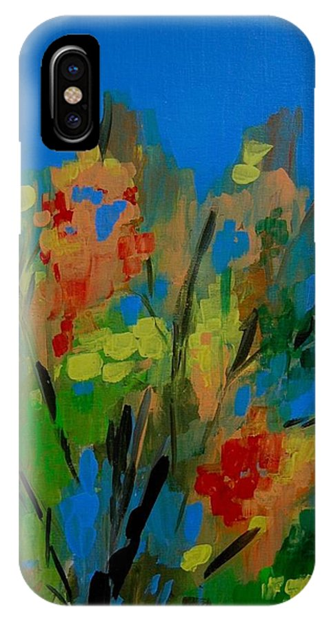 Nature IPhone Case featuring the painting Bright Flowers On Blue by Judy Swerlick