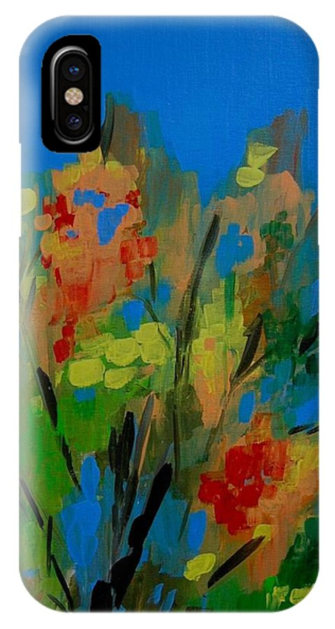 Nature IPhone X Case featuring the painting Bright Flowers on Blue by Judy Swerlick