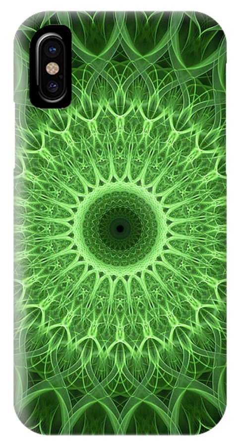 Mandala IPhone X Case featuring the photograph Bright Green Mandala by Jaroslaw Blaminsky