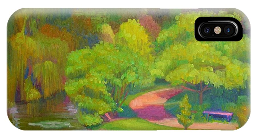 Landscape IPhone X Case featuring the painting Bright Hazy Day Chicago Botanical Gardens by David Dozier