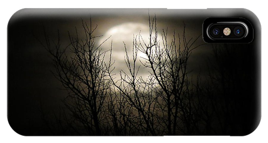 Moon IPhone X Case featuring the photograph Bright Night by Laurel Powell