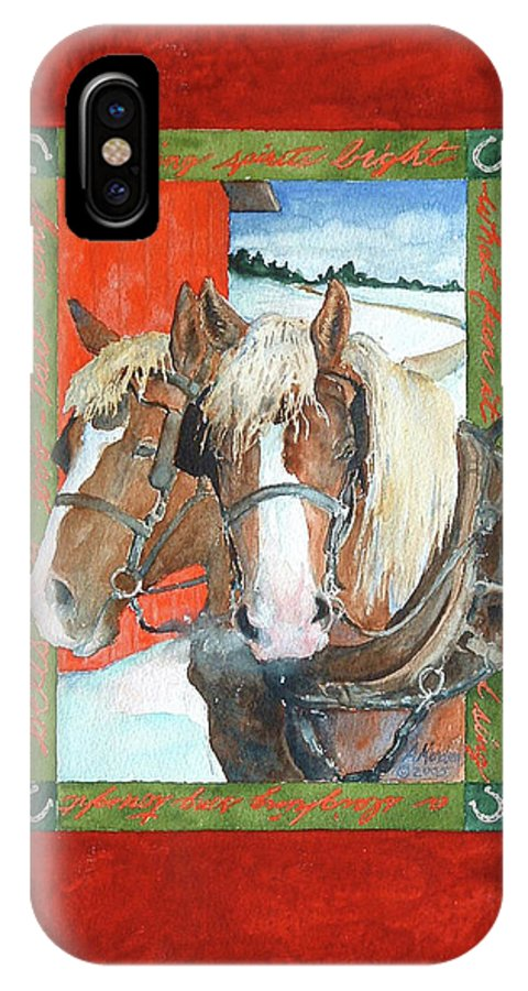 Horses IPhone X / XS Case featuring the painting Bright Spirits by Christie Martin